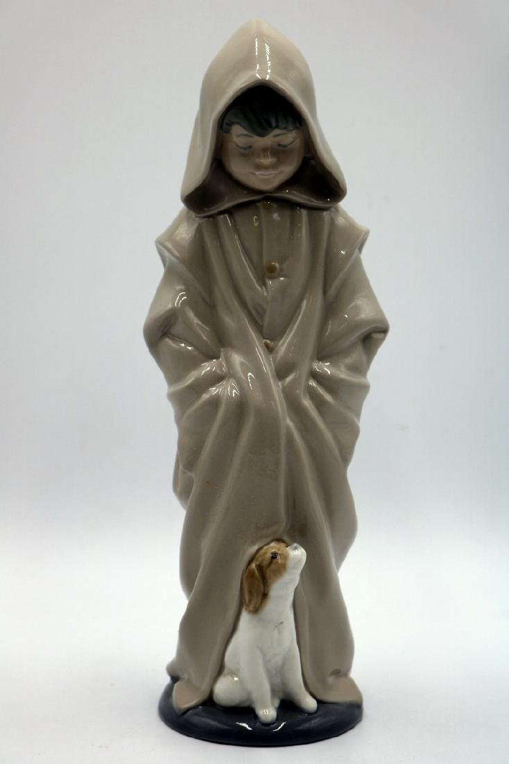 "Nao by Lladro ""Boy in Rain Coat & Dog"" #354 Porcelain"