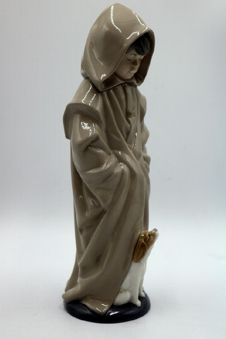 "Nao by Lladro ""Boy in Rain Coat & Dog"" #354 Porcelain - 5"