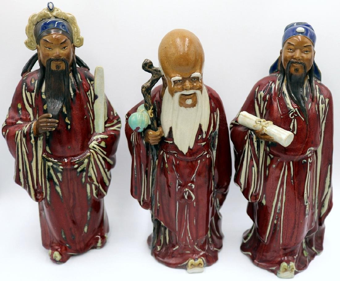 3 Pc. Japanese Hand Glazed Pottery Immortals