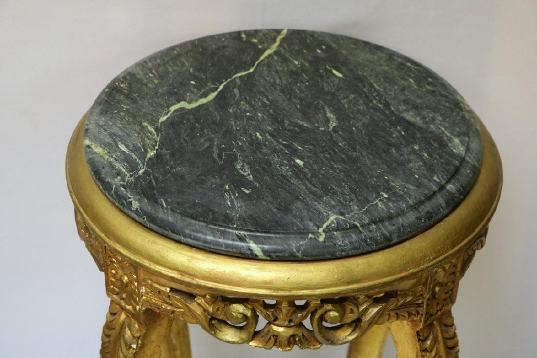 Beautiful Gilt Painted Marble Top Pedestal - 2