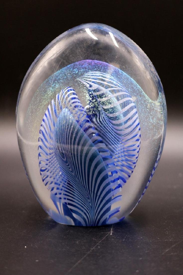 2 Pc. Signed Art Glass Paperweights - 2
