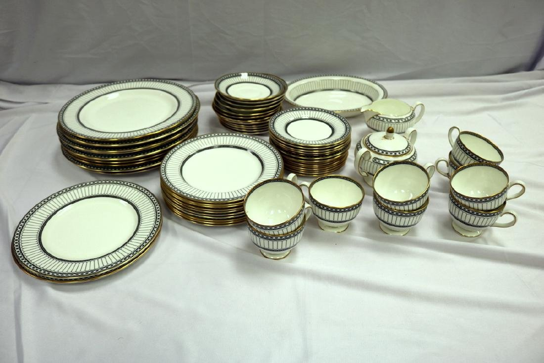 "62 Pc. Wedgwood ""Colonnade Black"" Bone China Set - 9"