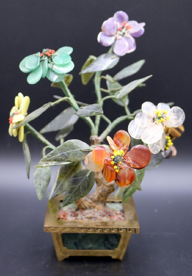 Chinese Jade & Multi-Semi-Precious Stone Tree