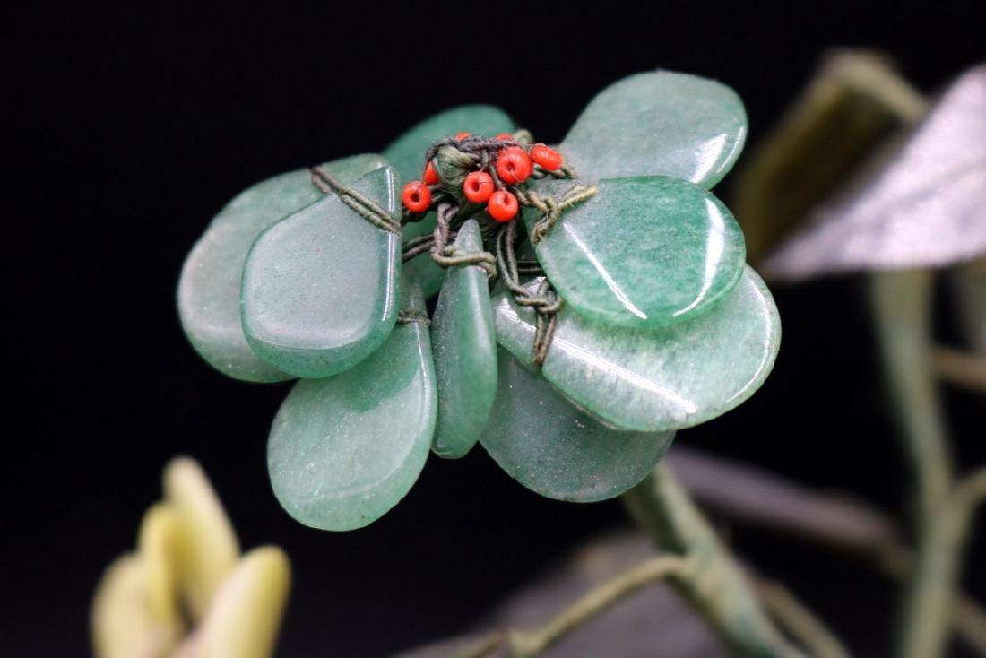 Chinese Jade & Multi-Semi-Precious Stone Tree - 3