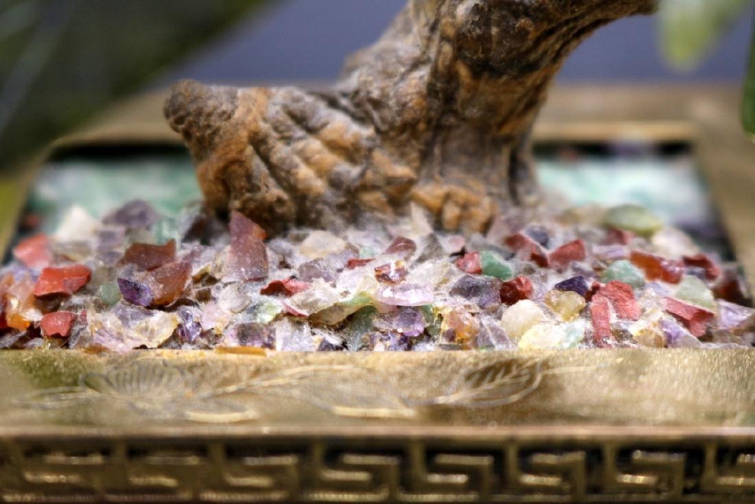 Chinese Jade & Multi-Semi-Precious Stone Tree - 7
