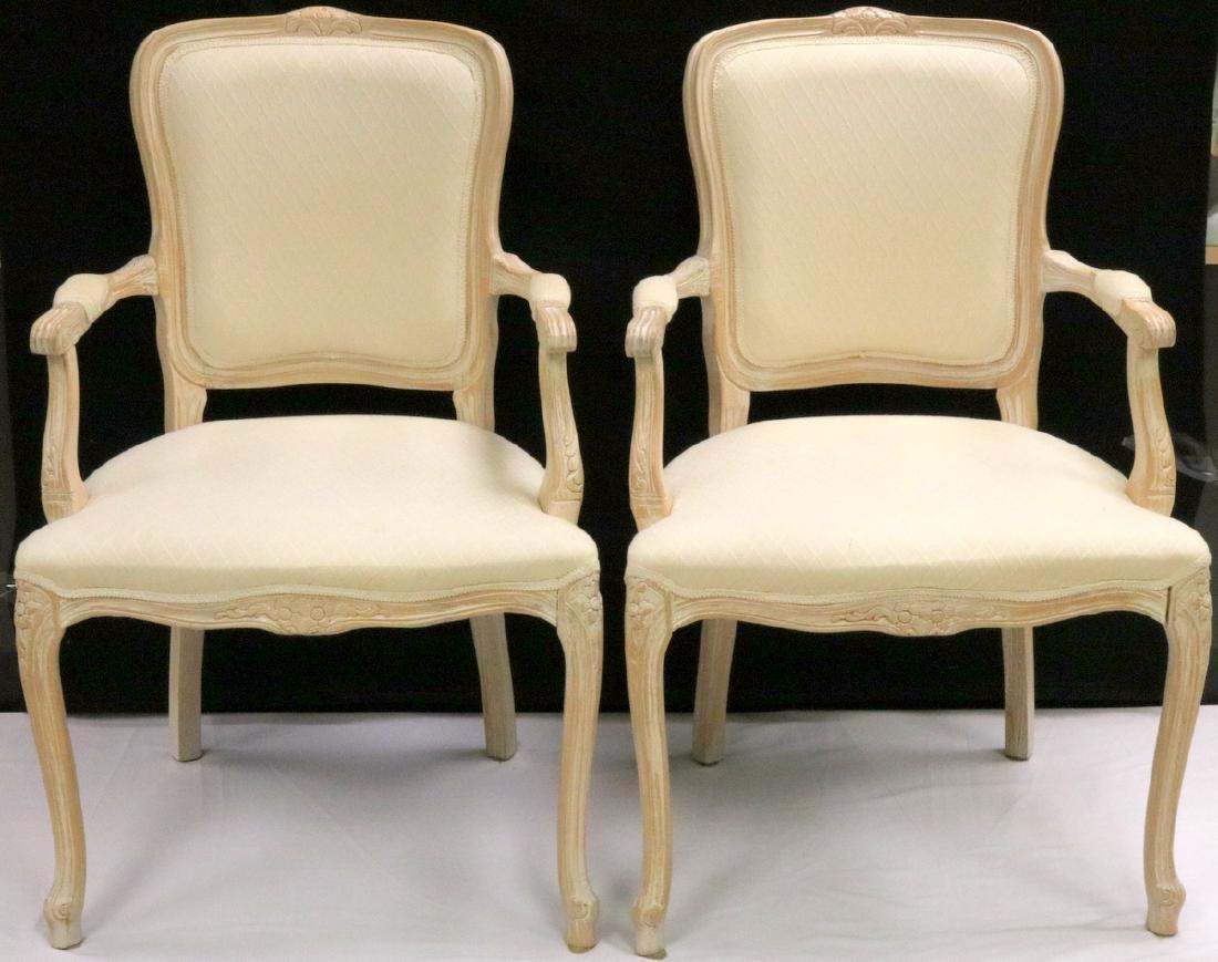 Pair of Beautiful White Upholstered & Cream Chairs