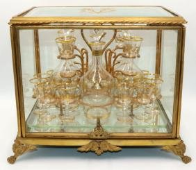 Antique French Gilt Bronze & Glass Case Tantalus Set