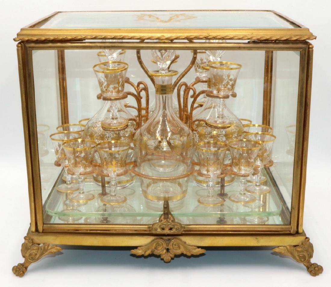Antique French Gilt Bronze & Glass Case Tantalus Set