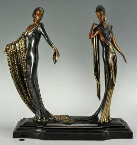 "Erte ""duetto"" Bronze Sculpture"