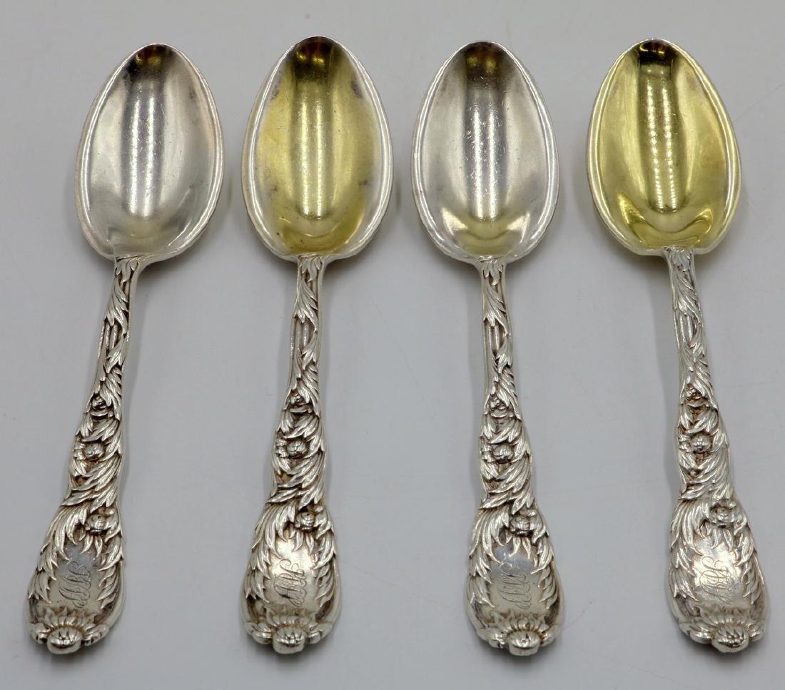 "4 Pc. Tiffany & Co. ""Chrysanthemum"" Sterling Tea Spoons"