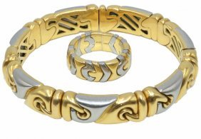 Exquisite Bvlgari 18kt Two-tone Bangle & Ring Suite