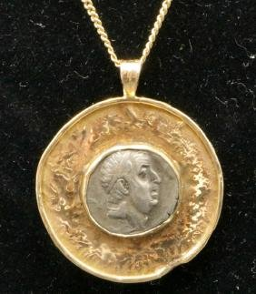 14kt Yg Coin Pendant W/ Necklace