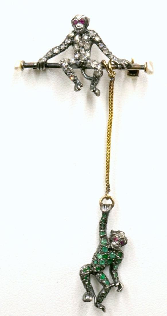 European 19th C. Gold & Sterling Monkey Pin