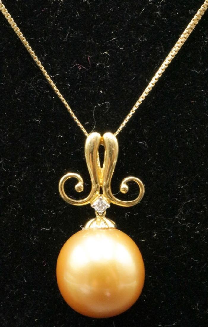 18Kt YG Golden South Sea Pearl & Diamond Pendant w/