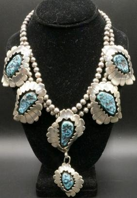 Native American Sterling & Turquoise Squash Necklace