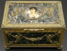 Antique French Bronze, Marble & Portrait Box