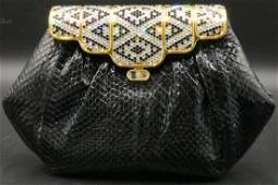 Black Snake Skin & Swarovski Crystal Purse