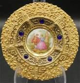 Limoges France Porcelain Gilt Framed Wall Plaque
