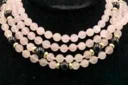 14Kt YG Rose Quartz & Black Onyx Beaded Necklace