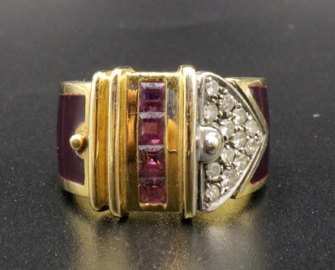 La Nouvelle Bague 18Kt YG Diamond & Enamel Ring