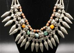 Old Mexican Turquoise, Coral & Sterling Necklace