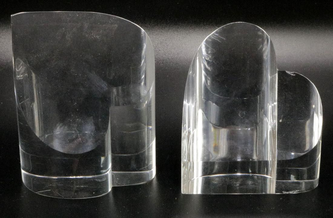 Pair of Steuben Heart Crystal Paperweight
