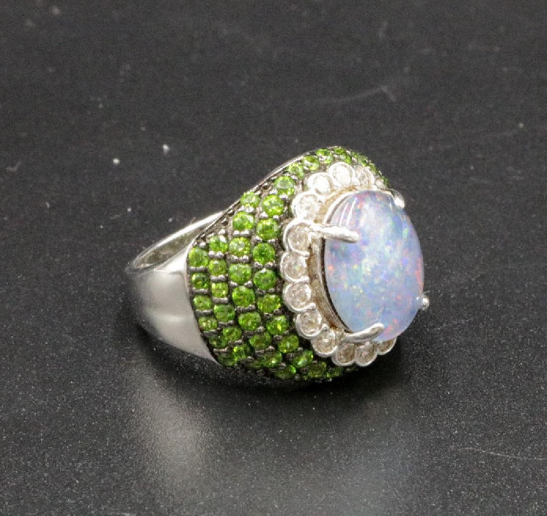 JZ Sterling Mixed Stones & Opal Ring