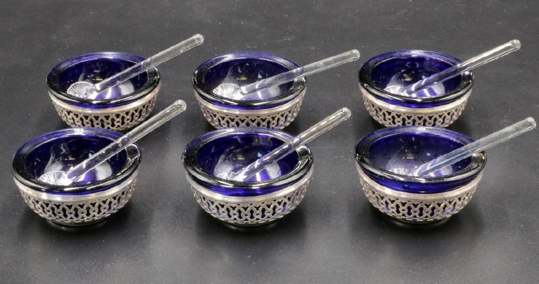 6 Pc. Webster Co. Sterling & Cobalt Blue Glass Salt