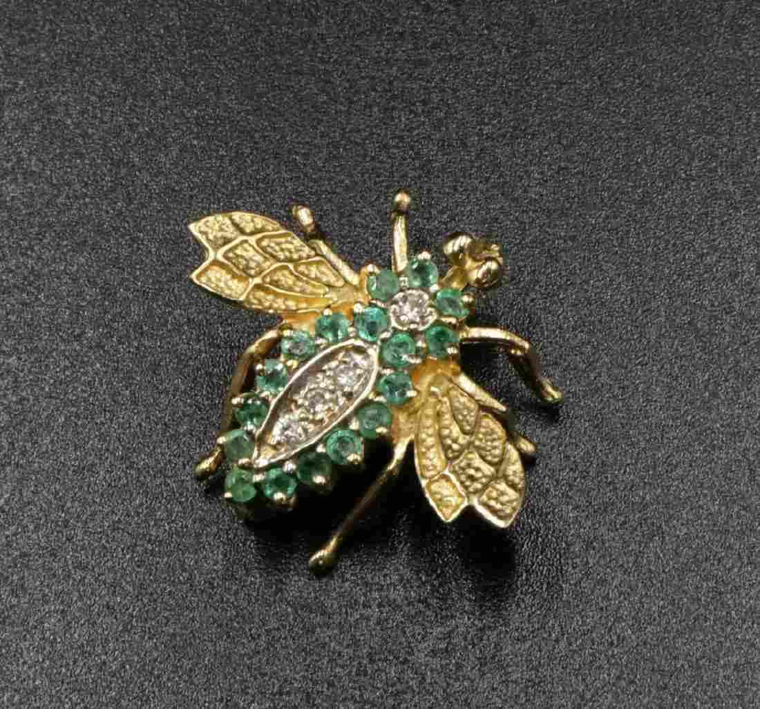 14Kt YG Emerald & Diamond Bee Pin