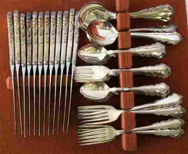 """70 Pc. Reed & Barton """"Dresden Rose"""" Silver Plated"""