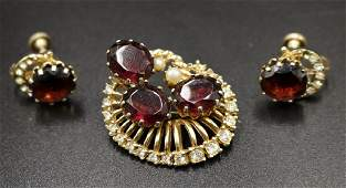 Vintage Costume Brooch  Earrings Suite