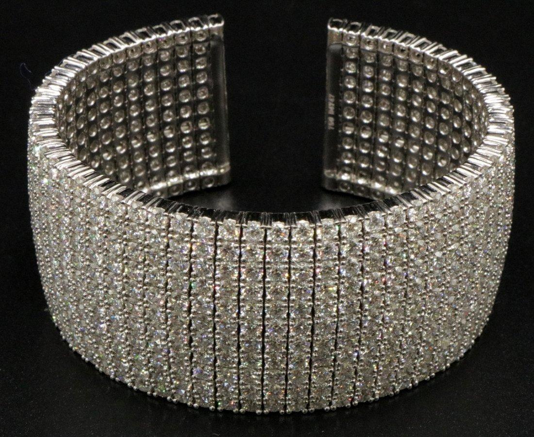 Exquisite 18Kt WG 47.47ct. Diamond Cuff Bangle