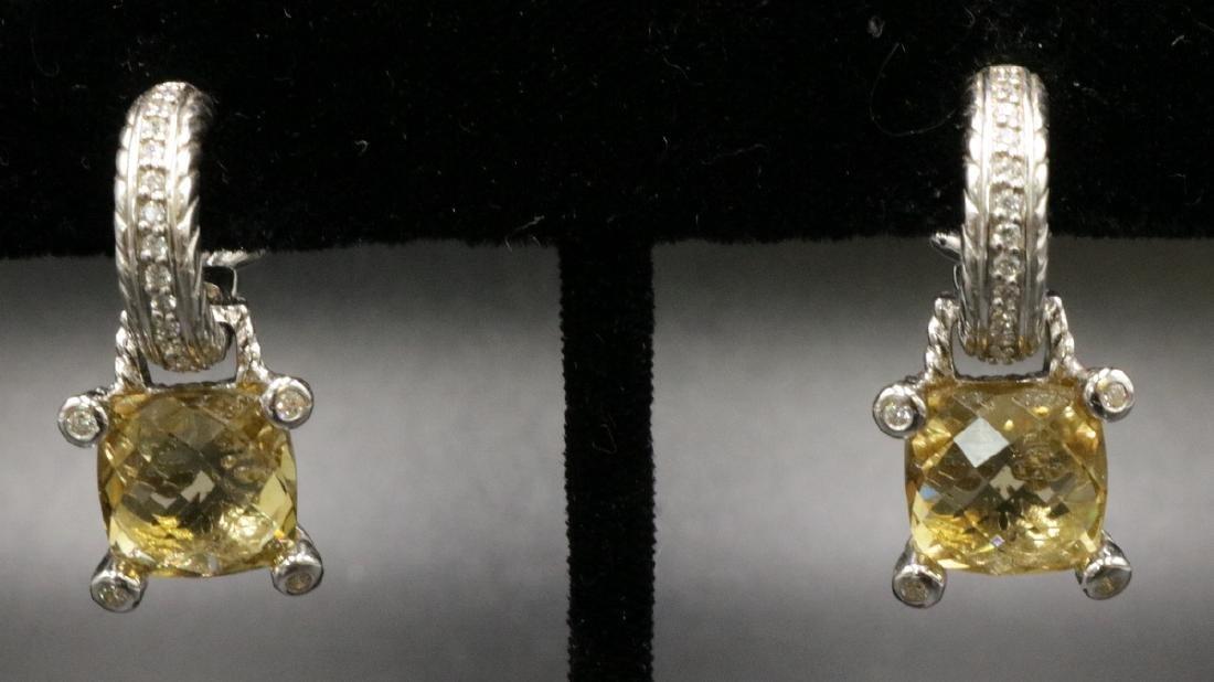 Judith Ripka Sterling Lemon Quartz & CZ Earrings