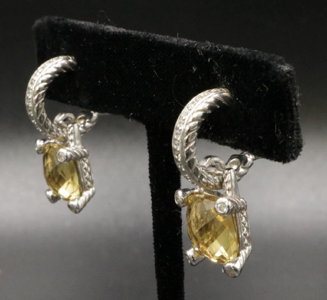 Judith Ripka Sterling Lemon Quartz & CZ Earrings - 2