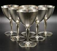 6 Pc Tiffany  Co Sterling Goblets