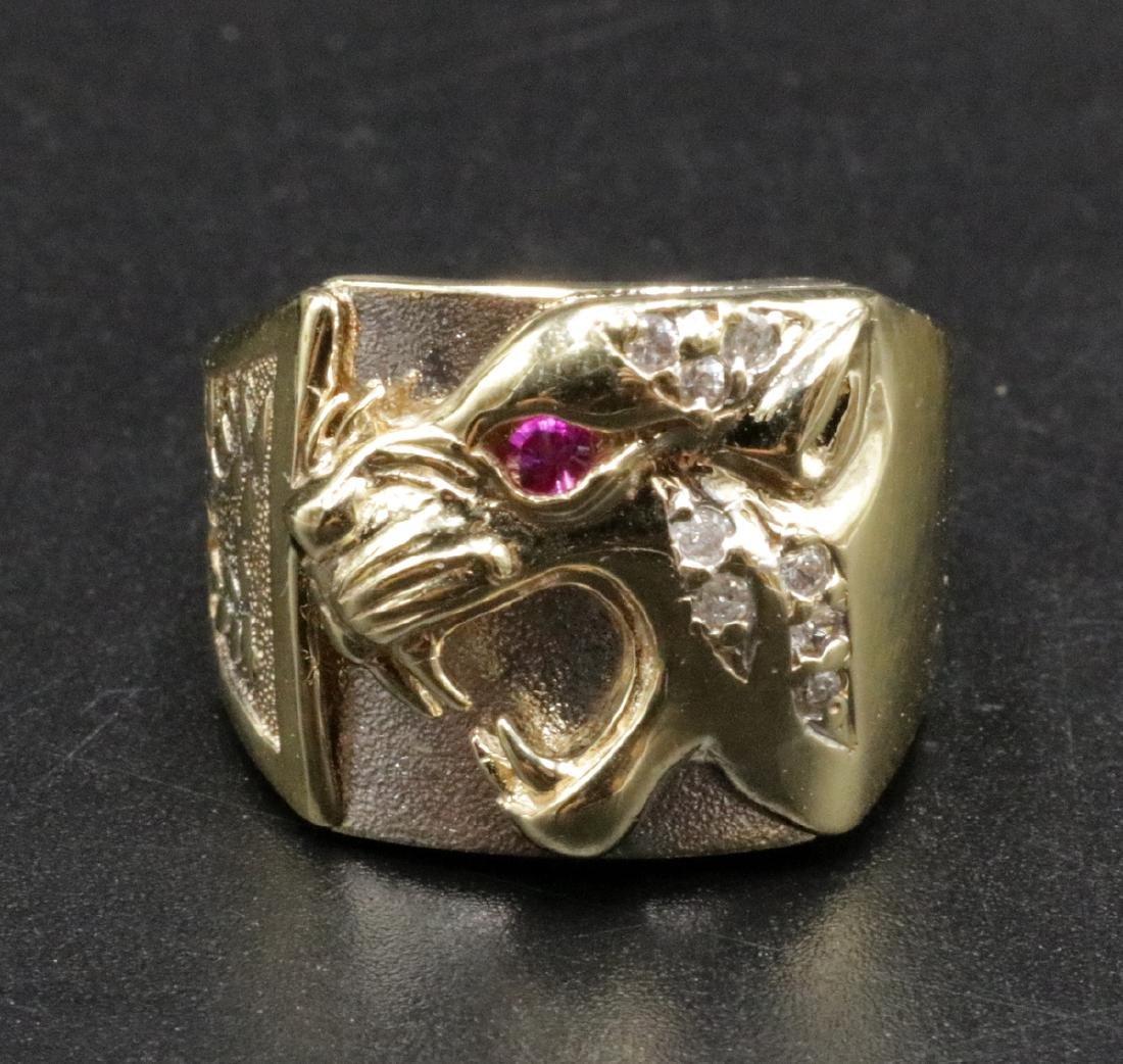10Kt YG Ruby & Diamond Lion Men's Ring