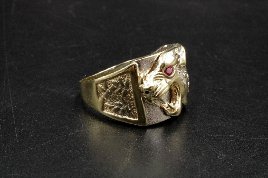 10Kt YG Ruby & Diamond Lion Men's Ring - 2