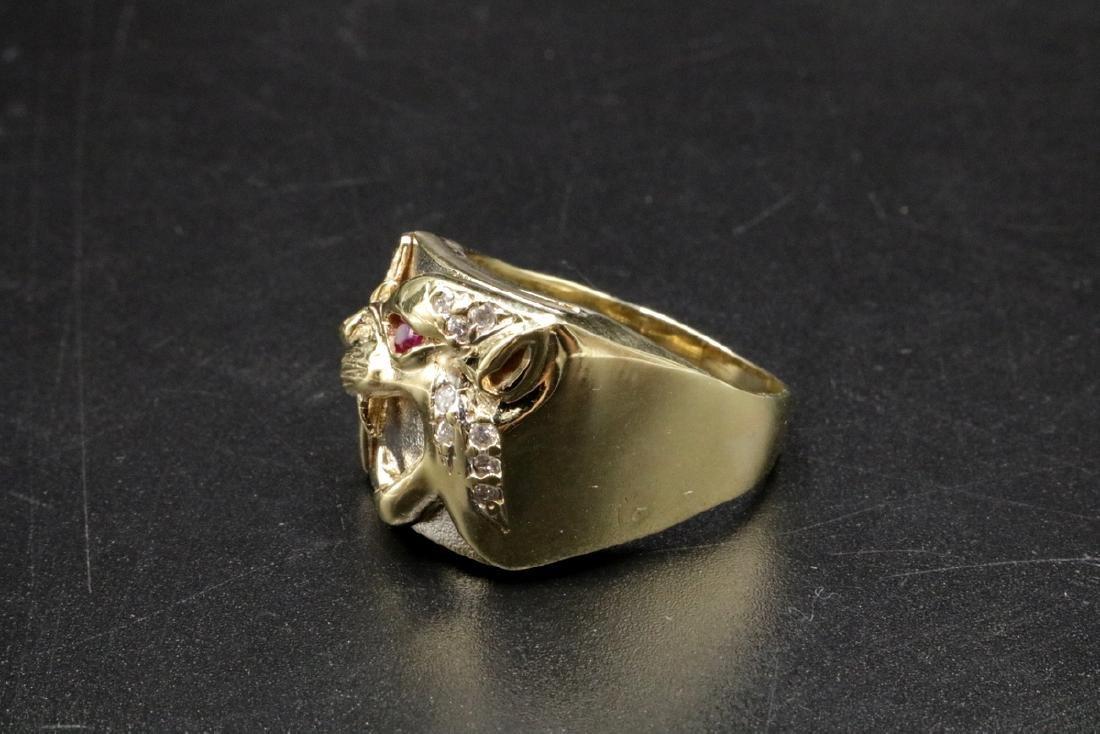 10Kt YG Ruby & Diamond Lion Men's Ring - 3