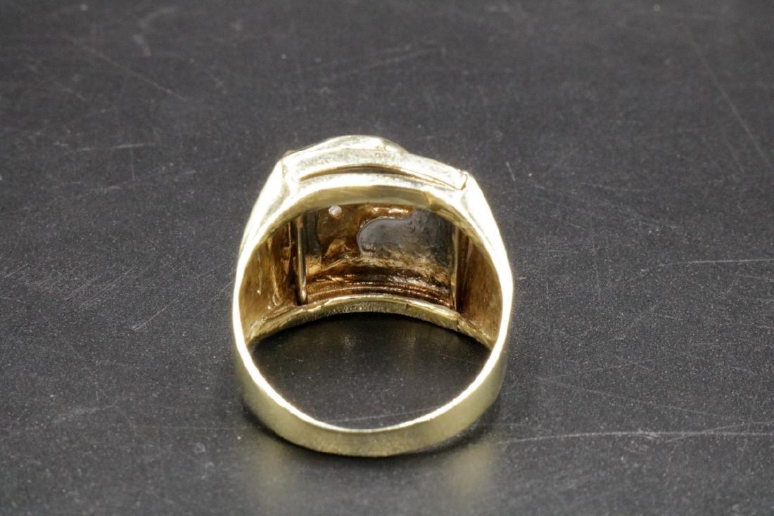 10Kt YG Ruby & Diamond Lion Men's Ring - 4