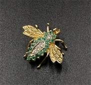 14Kt YG Emerald  Diamond Bee Pin