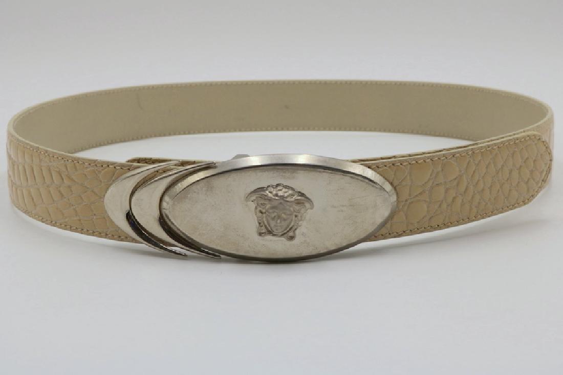 Gianni Versace Italian White Leather Ladies Belt