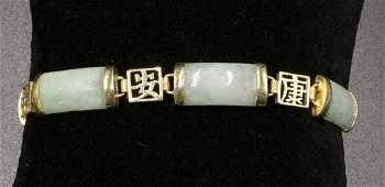 Chinese Jade & Vermeil Sterling Bracelet