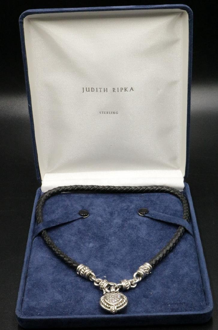 Judith Ripka Sterling Heart Pendant w/ Leather Necklace