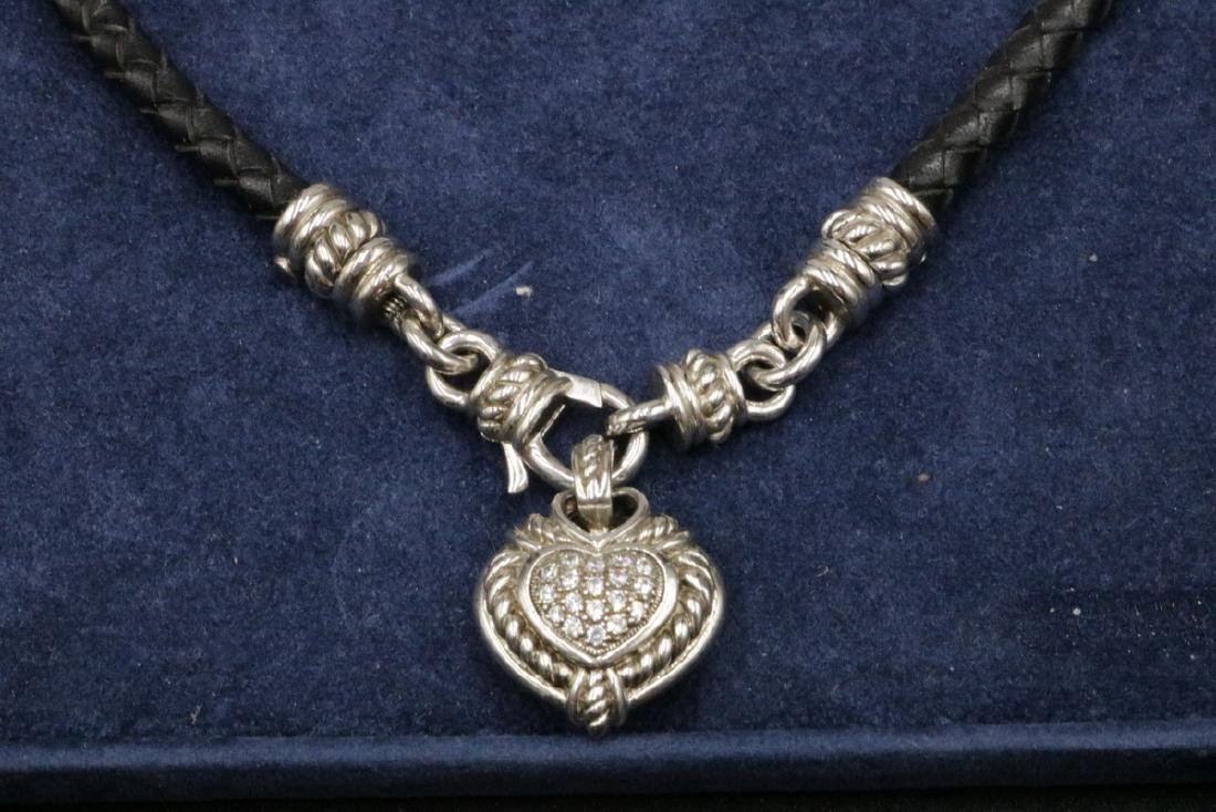 Judith Ripka Sterling Heart Pendant w/ Leather Necklace - 2