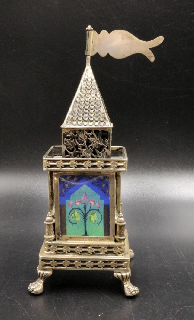 Rare Judaica Nadav Sterling & Hand Painted Footed