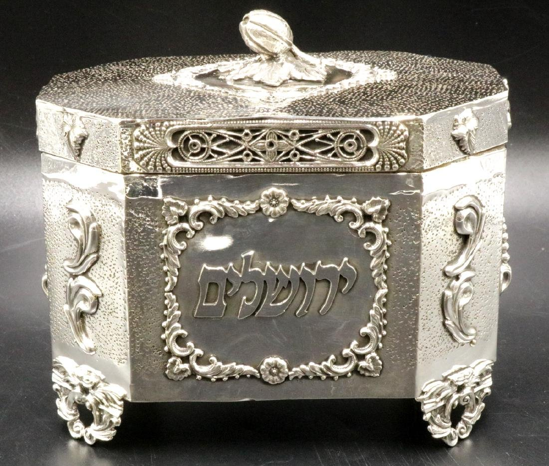 Rare Judaica Sterling Silver Tea Caddy
