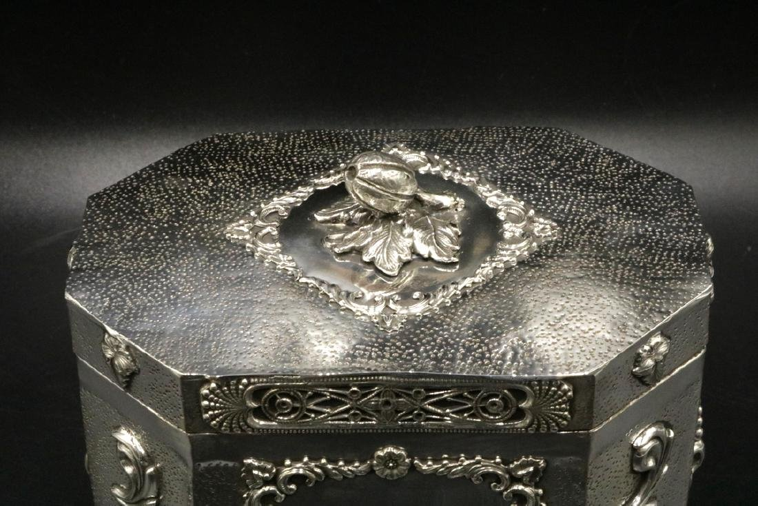 Rare Judaica Sterling Silver Tea Caddy - 2