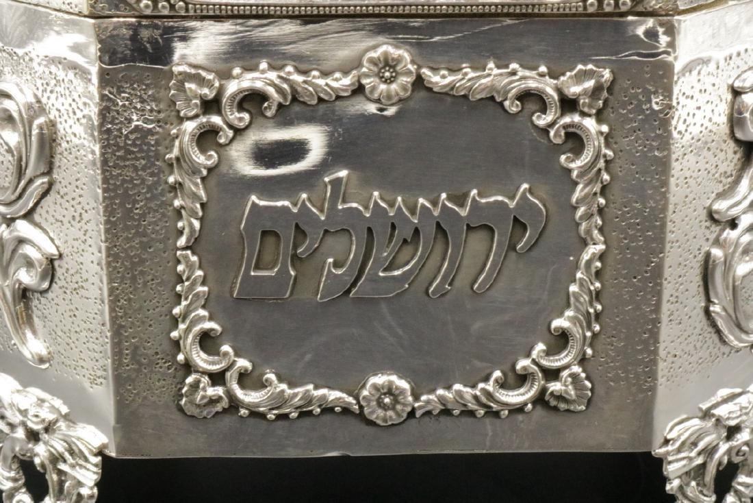 Rare Judaica Sterling Silver Tea Caddy - 3