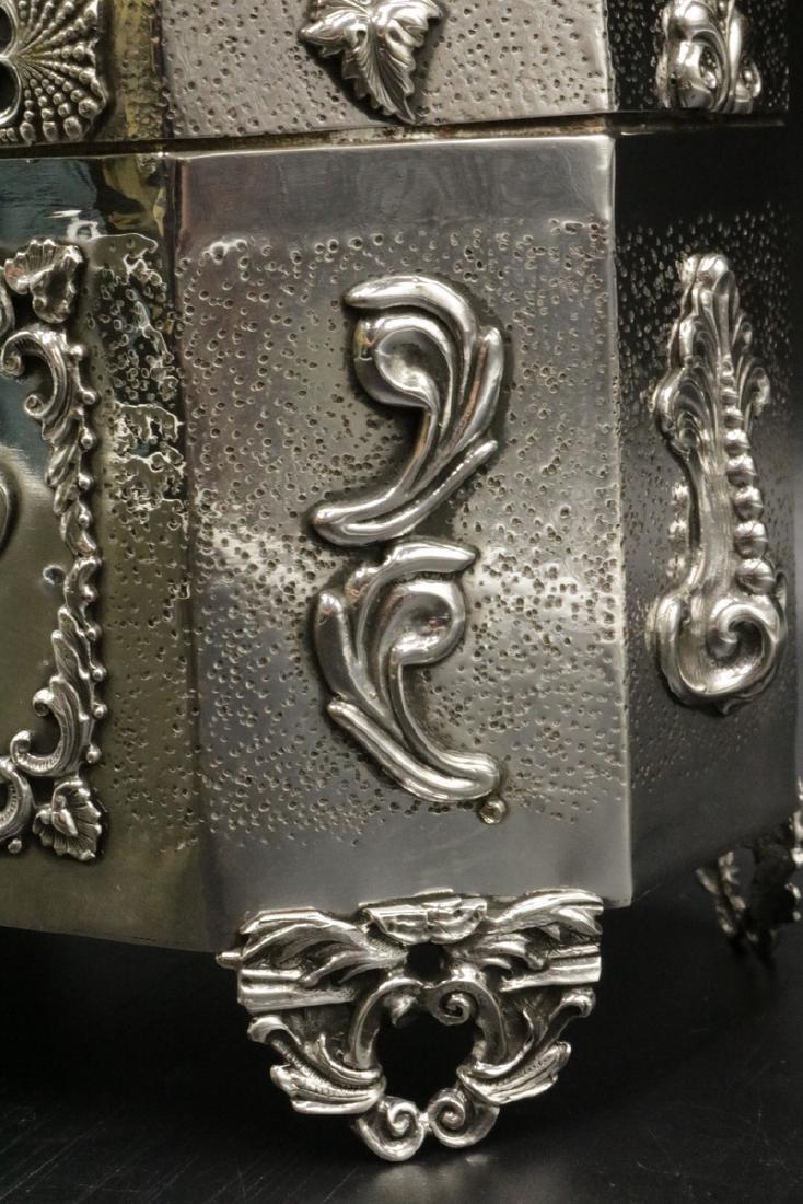 Rare Judaica Sterling Silver Tea Caddy - 4