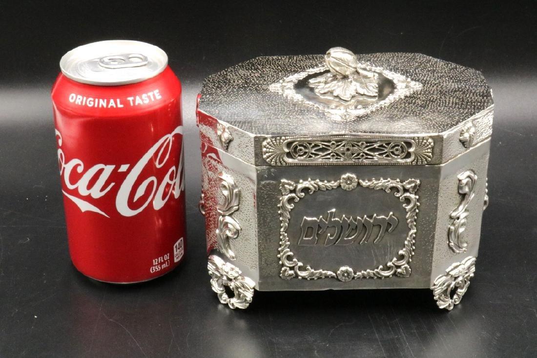 Rare Judaica Sterling Silver Tea Caddy - 5